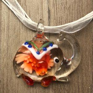 New Murano like glass elephant necklace